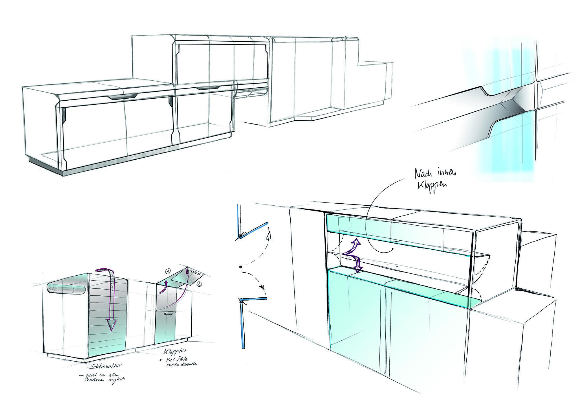 Ideen skizzieren für eine Verpackungsmaschine