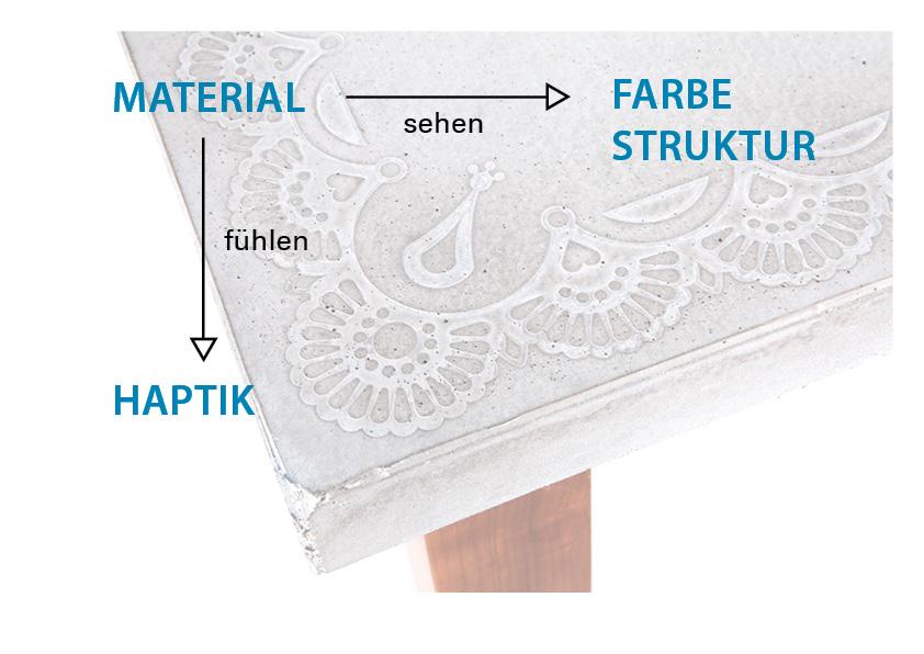 Oberflächenmaterial - die Struktur, Haptik und Farbe einer Oberfläche trägt maßgeblich zum Erfolg des Produktes bei